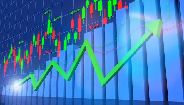 Illustration 3d de l'investissement financier en bourse