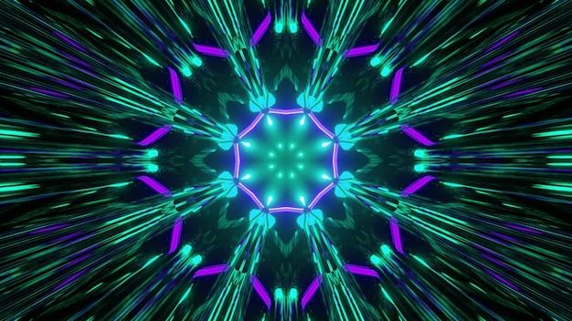 Illustration 3d irisée abstraite de la figure en forme de fleur symétrique formée par des pétales violets et des rayons bleus flous