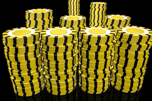 Illustration 3d. jetons de casino. concept de casino en ligne. fond noir isolé.