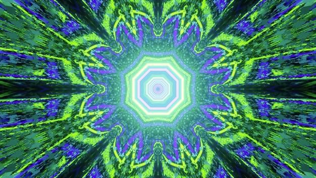 Illustration 3d kaléidoscopique futuriste abstraite avec motif de fleurs géométriques dans les couleurs néon vert et bleu et effet de réflexion de la lumière