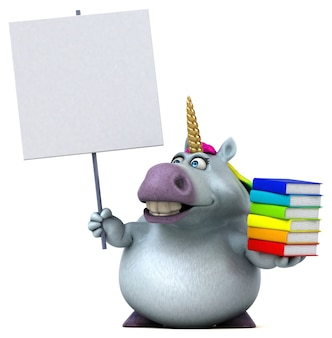 Illustration 3d de licorne amusante