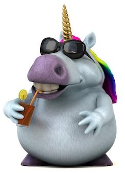 Illustration 3d de licorne amusante