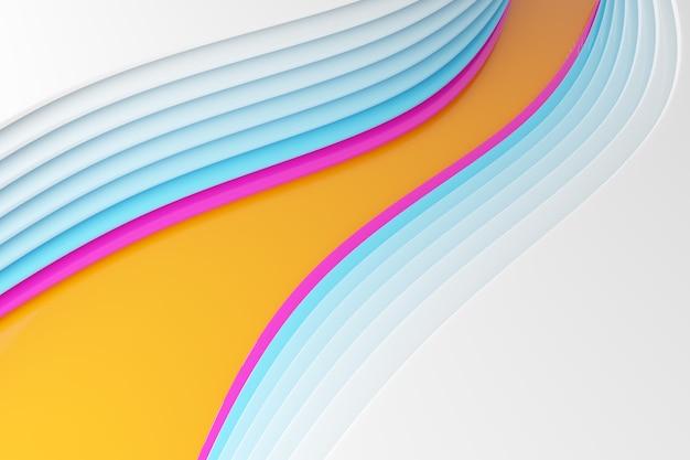 Illustration 3d de lignes de vagues colorées