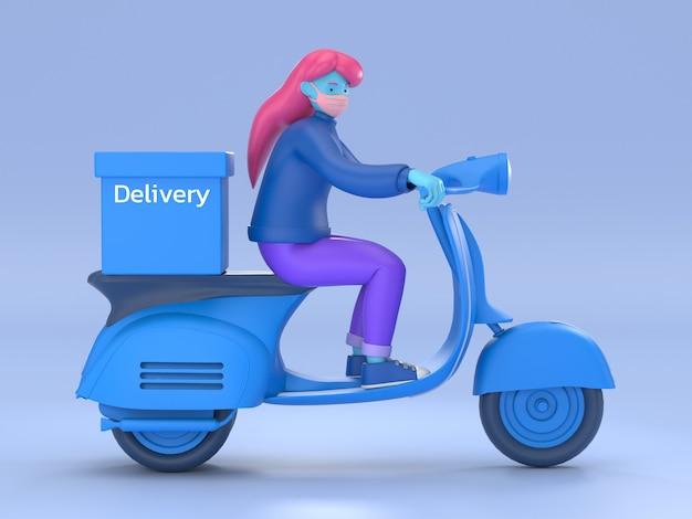 Illustration 3d livraison rapide et gratuite en scooter pour le concept de commerce électronique mobile de service alimentaire. page web graphique de commande de nourriture en ligne, conception d'application, livraison à domicile et entrepôt de bureau
