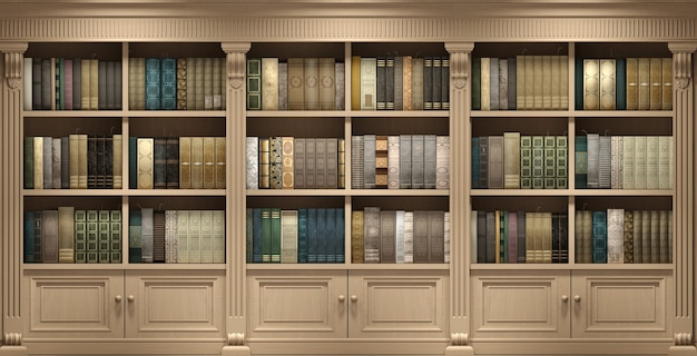 Illustration 3d. livres de bibliothèque classique en bois mural ou étude de bibliothèque ou salon, éducation