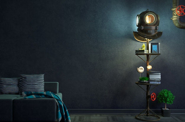 Illustration 3d de loft créatif avec plongée sous-marine antique
