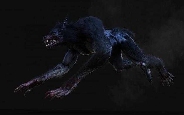 Illustration 3d d'un loup-garou sur fond sombre avec un tracé de détourage.
