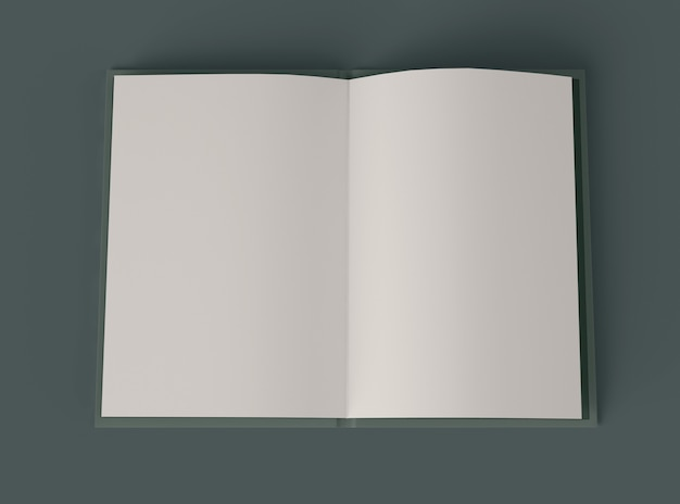 Illustration 3d. maquette de livre ouvert avec des pages blanches.