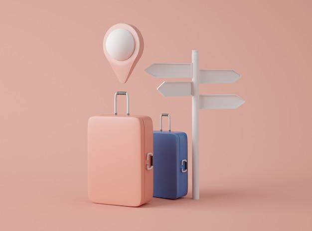 Illustration 3d. maquette de valise de voyage, panneau et pointeur de carte.