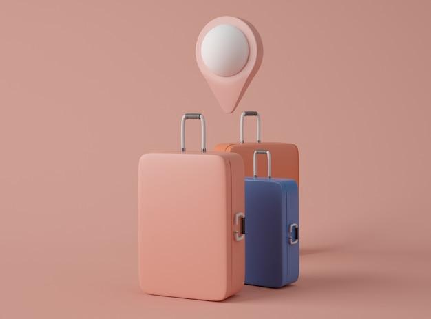 Illustration 3d. maquette de valise de voyage et pointeur de carte.