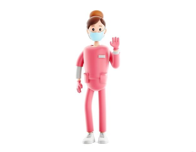 Illustration 3d médicale de beau docteur