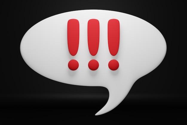 Illustration 3d de messages sous la forme d'un nuage avec un contenu inconnu sous la forme de points d'exclamation sur fond noir. illustration du dialogue, chat. symbole de négociation et d'incertitude