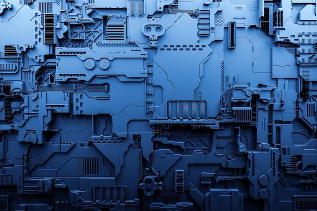 Illustration 3d d'un modèle réaliste d'un robot ou d'une cyber-armure bleue. équipement de gros plan pour l'extraction de crypto-bitcoin; éther. cartes vidéo; cartes mères