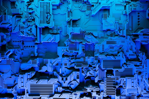 Illustration 3d D'un Modèle Réaliste D'un Robot Ou D'une Cyber-armure Bleue. équipement De Gros Plan Pour L'extraction De Crypto-bitcoin; éther. Cartes Vidéo; Cartes Mères Photo Premium