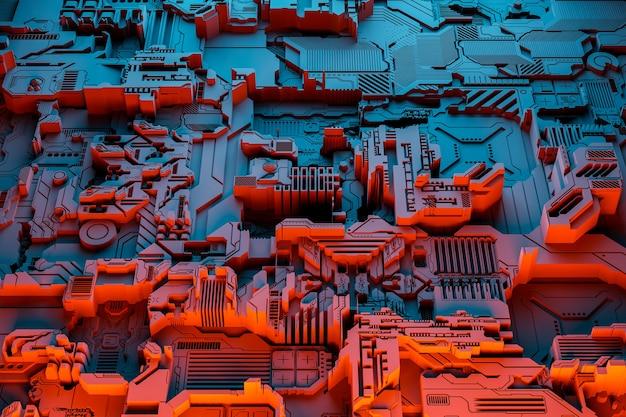Illustration 3d d'un modèle réaliste d'un robot ou d'une cyber-armure bleue et rouge. équipement de gros plan pour l'extraction de crypto-bitcoin; éther. cartes vidéo; cartes mères