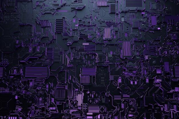 Illustration 3d d'un modèle réaliste d'un robot ou d'une cyber-armure violette. équipement de gros plan pour l'extraction de crypto-bitcoin; éther. cartes vidéo; cartes mères