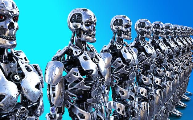 Illustration 3d ou modèles de nombreux serviteurs cyborg robotisés avec un tracé de détourage.