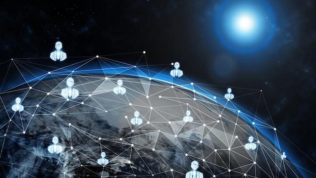 Illustration 3d mondiale communication créative moderne et carte du réseau internet