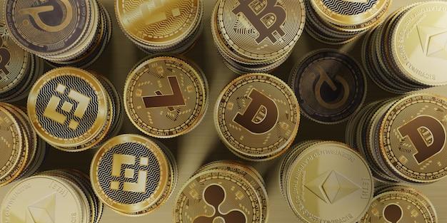 Illustration 3d de monnaie numérique bitcoin cryptocurrency