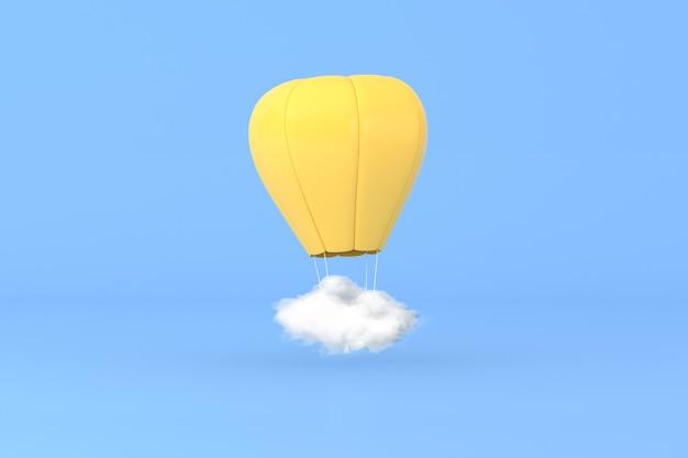 Illustration 3d de montgolfière avec nuage blanc sur fond bleu.