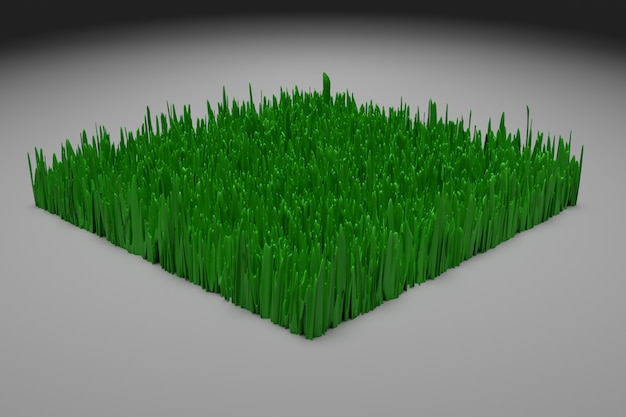 Illustration 3d d'un morceau de terre simplifié schématique avec de l'herbe verte en section