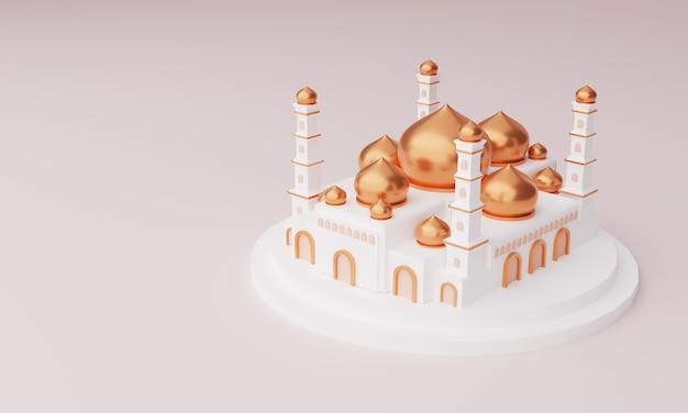 Illustration 3d de la mosquée islamique avec dôme doré