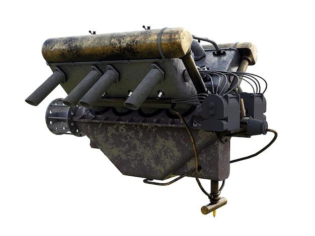 Illustration 3d d'un moteur de voiture sur fond blanc.