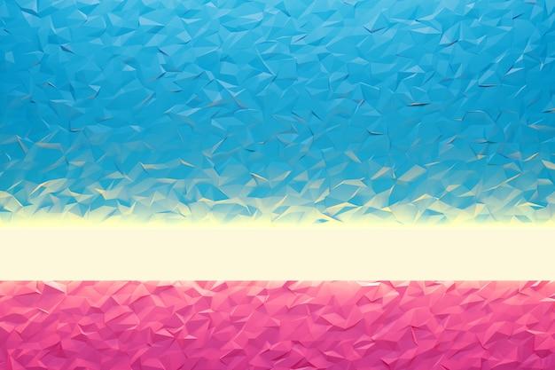 Illustration 3d motif bleu et rose dans un style ornemental géométrique avec faisceau de néon.