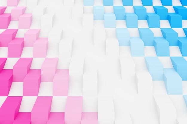 Illustration 3d motif géométrique damier rose et bleu des pyramides.
