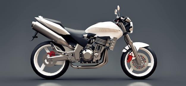 Illustration 3d. moto sport urbain blanc à deux places sur fond gris. rendu 3d.