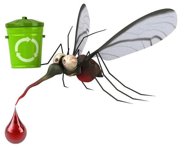 Illustration 3d de moustique avec poubelle