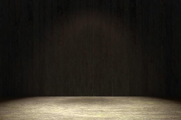 Illustration 3d. mur en bois noir et sol en bois