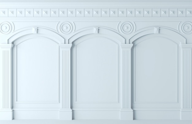 Illustration 3d. mur classique de panneaux de bois blancs. menuiserie à l'intérieur. contexte.