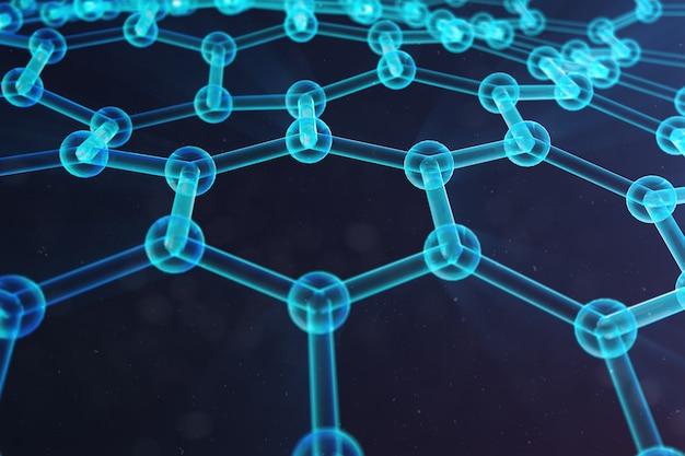 Illustration 3d nanotechnologie, close-up de forme géométrique hexagonale rougeoyante, concept structure atomique graphène, concept structure moléculaire graphène. illustration de la science