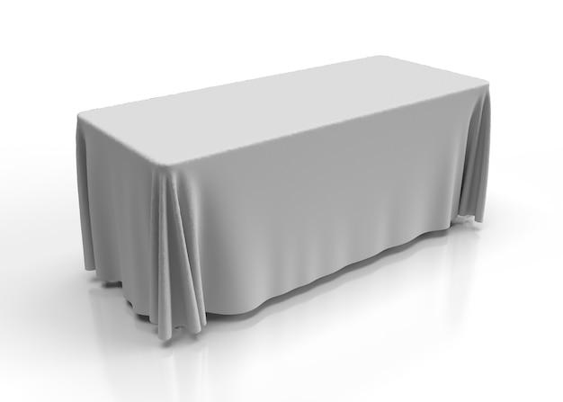 Illustration 3d d'une nappe blanche drapée sur une table à tréteaux avec une texture de tissu rendu