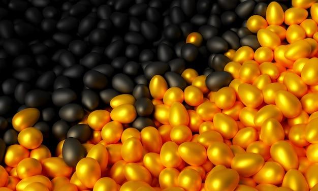 Illustration 3d de nombreux œufs d'or et noirs