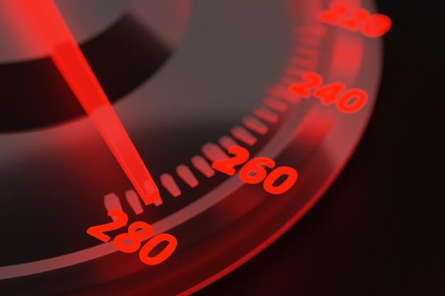 Illustration 3d de nouveaux détails de l'intérieur de la voiture. le compteur de vitesse indique 280 km h , tachymètre avec rétroéclairage rouge . panneau de voiture noir perdu, indicateur de vitesse numérique lumineux
