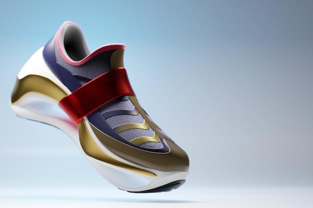 Illustration 3d de nouvelles baskets de sport bleues et rouges avec inserts dorés sur d'énormes baskets à semelle en mousse