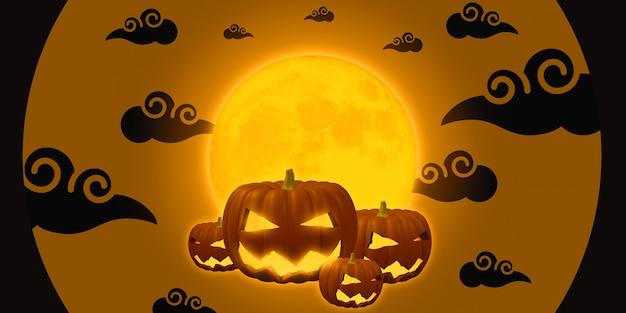 Illustration 3d nuit de sortie de fantôme sur citrouille heureuse d'halloween