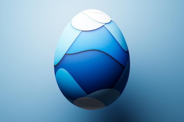 Illustration 3d d'un œuf de poule peint en bleu sous forme de vagues. œufs de pâques