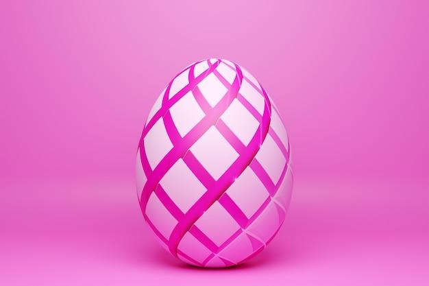 Illustration 3d d'un œuf de poule peint en rose sous la forme d'un motif. œufs de pâques