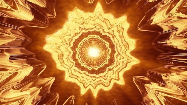 Illustration 3d de l'ornement surréaliste courbé 4k uhd brillant d'un néon doré brillant et formant un tunnel abstrait