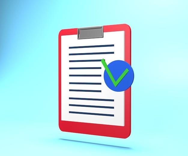 Illustration 3d de papier avec texte et marque d'approbation. papier de document d'assurance de rendu 3d avec marque d'approbation