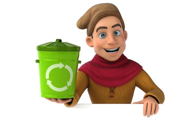 Illustration 3d d'un personnage historique médiéval avec poubelle