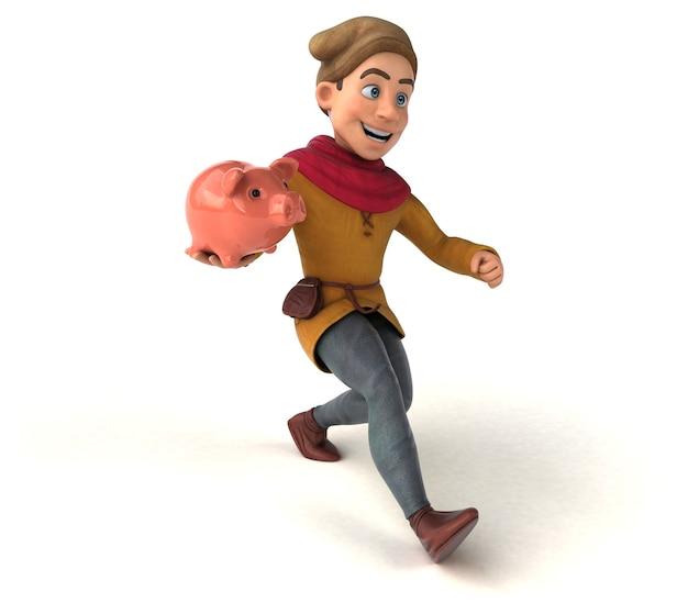 Illustration 3d d'un personnage historique médiéval