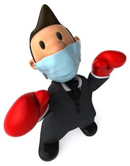 Illustration 3d d'un personnage avec un masque