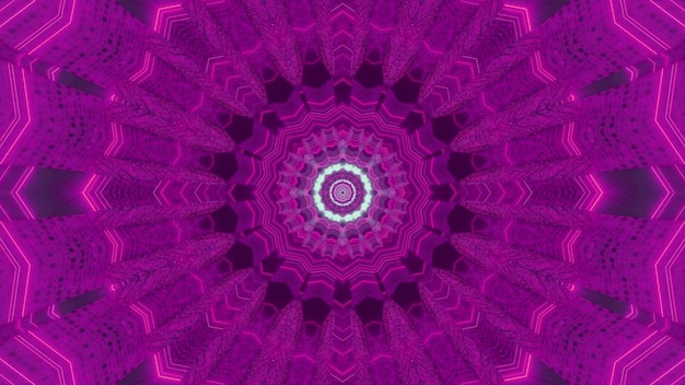 Illustration 3d perspective futuriste abstrait de tunnel de science-fiction de forme circulaire de couleur pourpre avec effet kaléidoscopique et néons