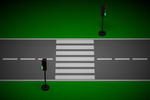 Illustration 3d d'un petit tronçon urbain de route avec une route à moteur et des marquages, des feux de circulation.