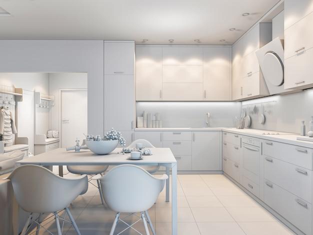 Illustration 3d de petits appartements aux couleurs pastel.