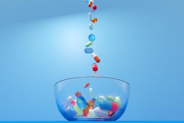 Illustration 3d de pilules multicolores et de formes différentes